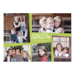 "5 Photo Holiday Collage Retro Joy and Peace Green 5"" X 7"" Invitation Card"
