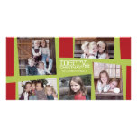 5 Photo Holiday Collage Retro Joy and Peace - Lime Picture Card