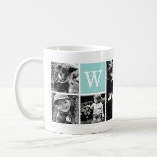 5-Photo Template Personalized Monogram Coffee Mug