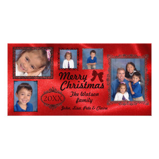 5 Photos Vintage Red Satin - Christmas Photo Card