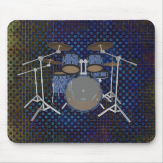 5 Piece Drum Kit - Custom Blue Drums - Mousepad