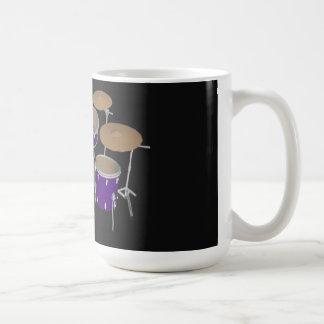 5 Piece Drum Kit: Violet: Coffee Mug: Drums Set Basic White Mug