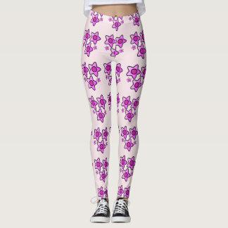5 Pink bold flower in a pattern on leggings