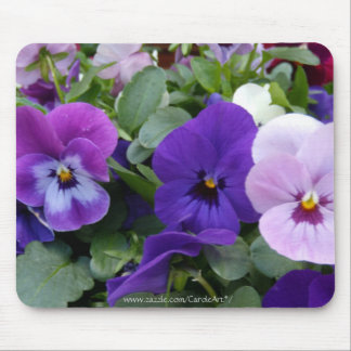 5 Purple Lavender Blue Pansies Mouse Pad