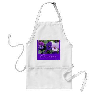5 Purple Lavender Blue Pansies Standard Apron