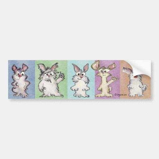 5 Rainbow Rabbits Bumper Sticker