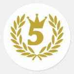 5-real-laurel-crown round sticker