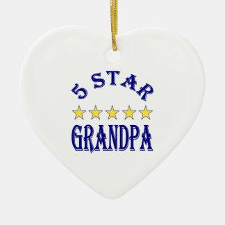 5 Star Grandpa Ceramic Heart Ornament