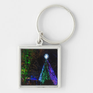 5 Story Sdc Tree Night Silver-Colored Square Keychain