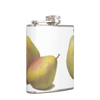 5 vintage pears illustrated flask