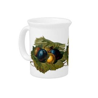 5 vintage plums painting beverage pitchers