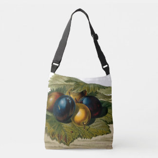 5 vintage plums painting crossbody bag