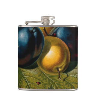 5 vintage plums painting hip flask