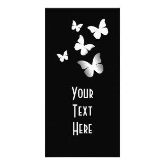 5 White Butterflies Custom Photo Card