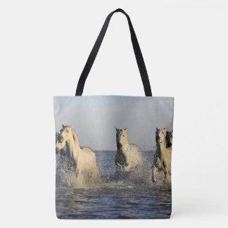 5 Wild Horses Running In The Ocean Tote Bag
