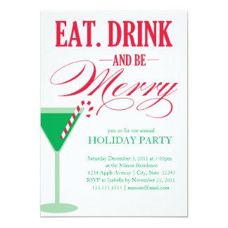 5 x 7 mangent, boisson et soient joyeux invitation carton d'invitation  12,7 cm x 17,78 cm