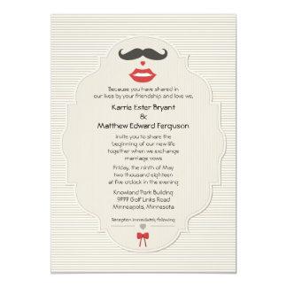 """5"""" x 7"""" Mustache Lips Retro Wedding Invitation 5"""" X 7"""" Invitation Card"""