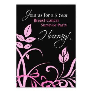 5 Year Breast Cancer Survivor Party Invitation