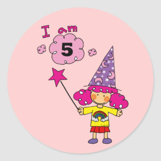 5 year old magician girl classic round sticker