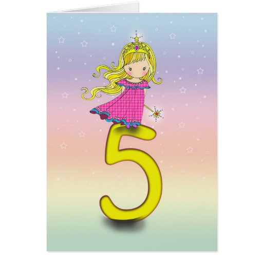 5 Year Old Princess Birthday Card For Girls