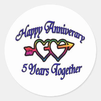 5 Years Together Round Sticker