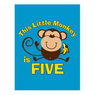 5ème garçon d'anniversaire de petit singe cartes postales