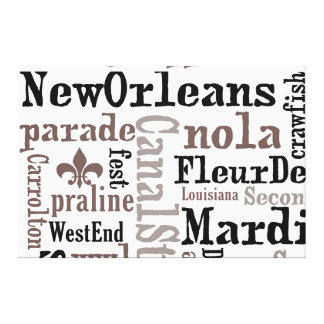 5ft Tall NewOrleans Typography Wrapped Canvas