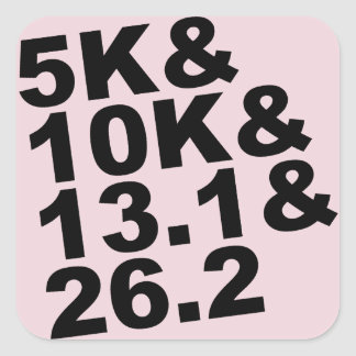 5K&10K&13.1&26.2 (blk) Square Sticker