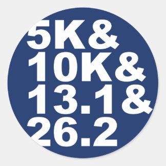 5K&10K&13.1&26.2 (wht) Classic Round Sticker