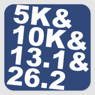 5K&10K&13.1&26.2 (wht) Square Sticker