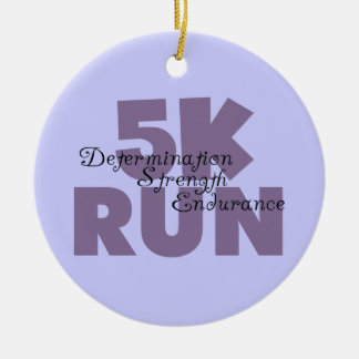 5K Run Purple Ceramic Ornament