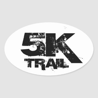 5K Trail Running Oval Decal Black On White Oval Sticker