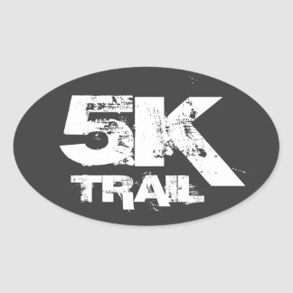 5K Trail Running Oval Decal White On Black Oval Sticker
