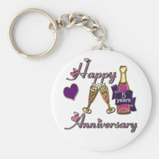 5th. Anniversary Basic Round Button Keychain