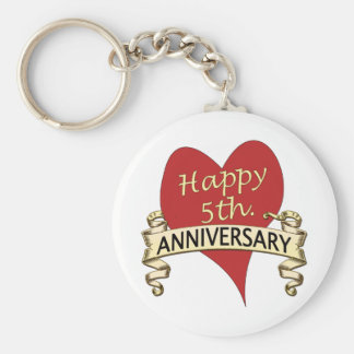 5th. Anniversary Basic Round Button Keychain