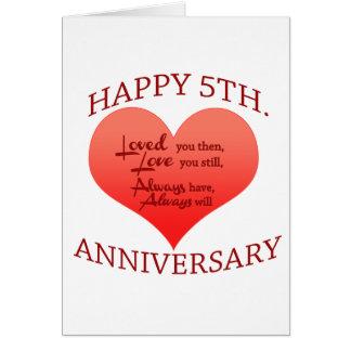 5th. Anniversary Card