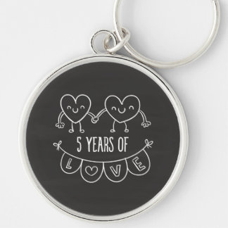 5th Anniversary Gift Chalk Hearts Silver-Colored Round Keychain