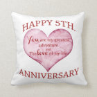 5th. Anniversary Throw Pillow