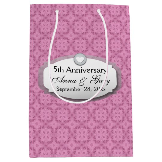 5th Anniversary Wedding Anniversary Z21 Medium Gift Bag