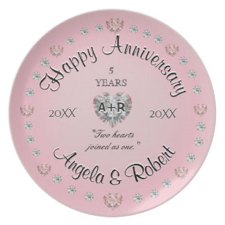 5th Anniversary with Pink Hearts Plate