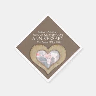 5th anniversary wood heart custom photo napkins