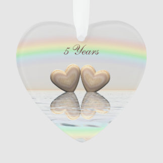 5th Anniversary Wooden Hearts Ornament