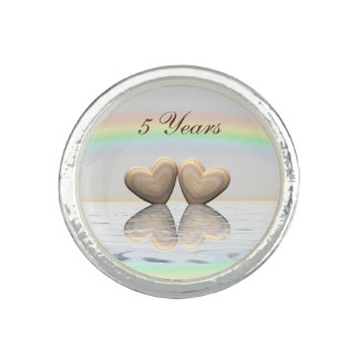 5th Anniversary Wooden Hearts Photo Rings