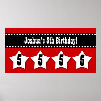 5th Birthday Banner with Stars Custom Name V05S Poster