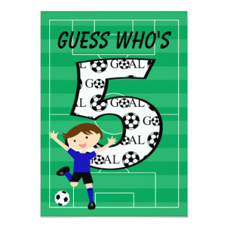 5th Birthday Blue and Black Soccer Goal v2 Card