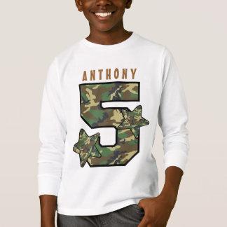 5th Birthday Boy Camo and Stars Custom Name V01E T-Shirt