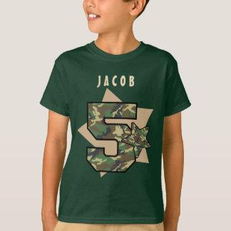 5th Birthday Boy Camo Custom Name with STARS V02A T-Shirt