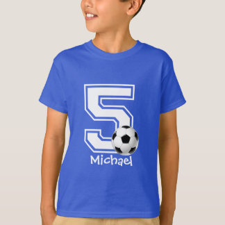 5th Birthday boy soccer personalized-2 T-Shirt