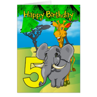 5th Birthday Card - Elephant, Giraffe, Jungle