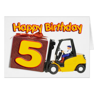 5th birthday card with a fork lift truck